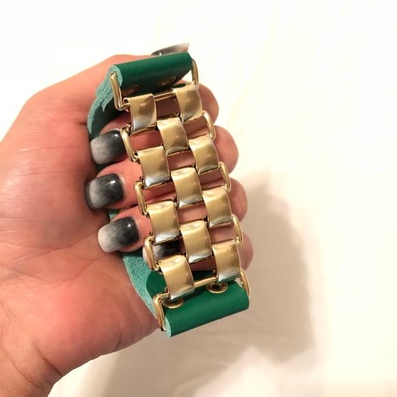 natasha Jewelry - Natasha green and gold statement bracelet